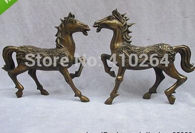 Chine regius Bronze Cuivre travail manuel tailler Dragon Phoenix Cheval Statue paire