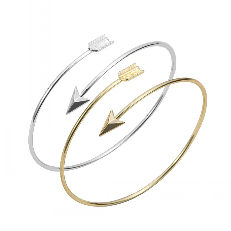 ୧ʕ ʔ୨1 Oro Plata Piece-G016 lindo diseño simple Flecha Ajustable ...