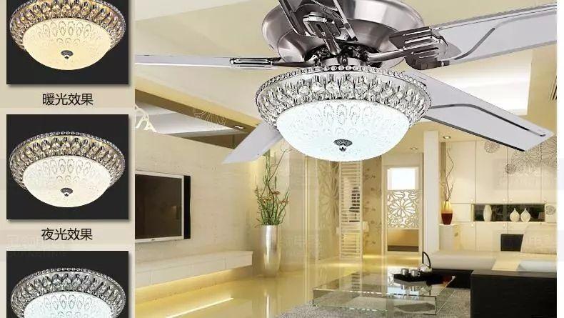 Luxury Decorative Crystal Chandelier Fan Living Room Bedroom Diningroom Light Stainless Steel Leaf In Ceiling Fans From Lights