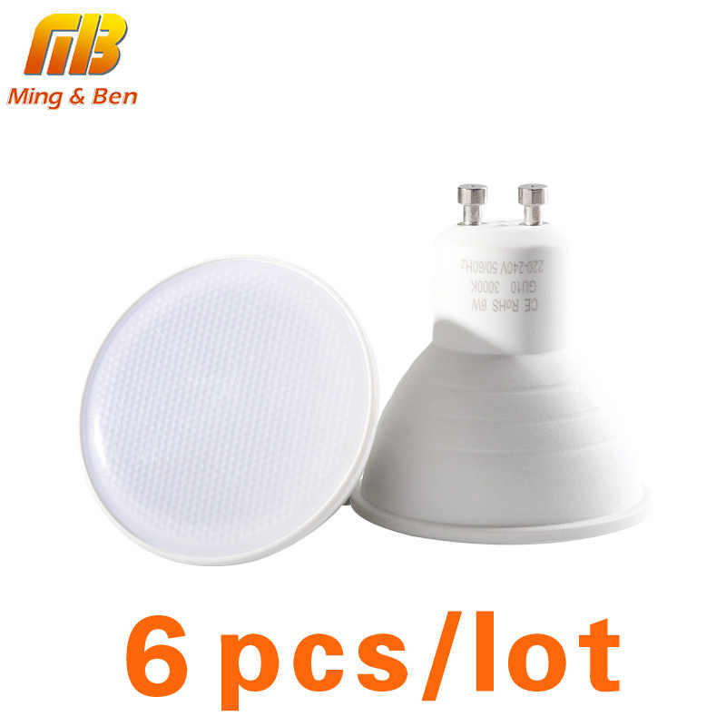 6pcs LED Light Bulb Spotlight GU10 MR16 E14 E27 6W 220V LED COB Chip Beam Angle 24 120 Degree LED Spot Light For Table Wall Lamp
