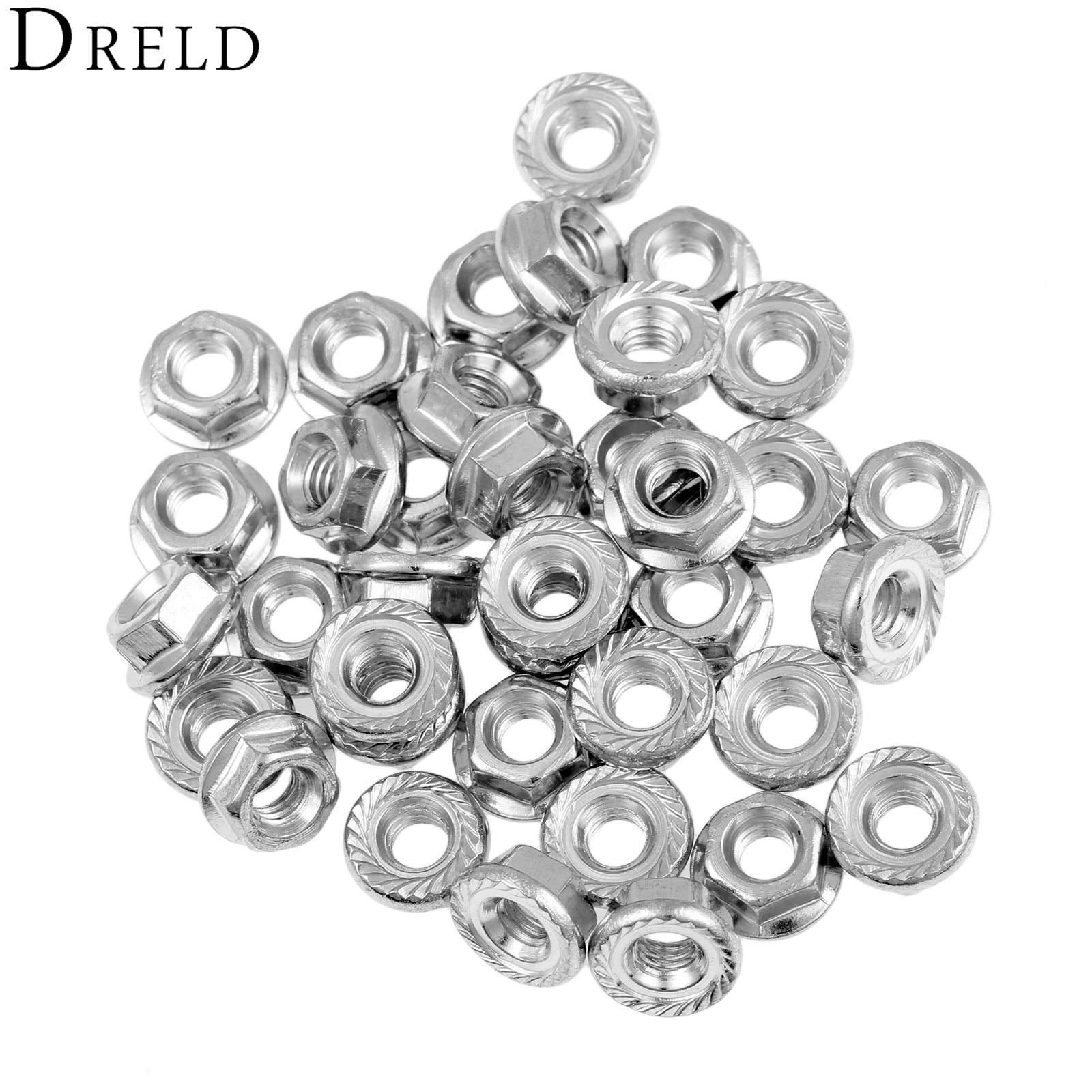 DRELD 50Pcs/lot Metric Thread M3 M4 M5 Carbon Steel Hex Flange Nut Hexagon Nut Lock Nut шорты женские love republic цвет черный 8254145704 50 размер 42