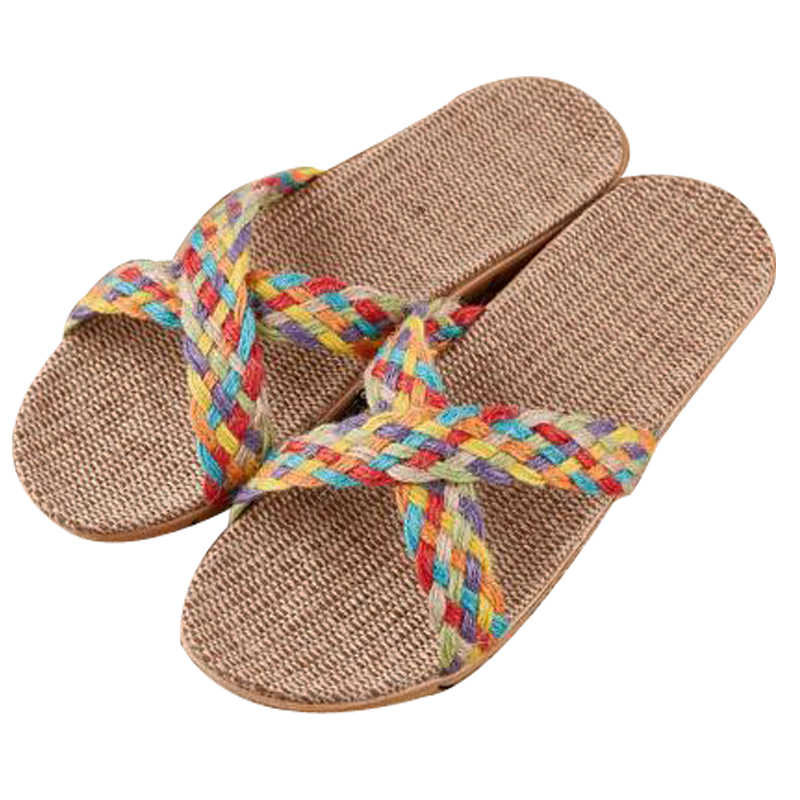 Kadın çapraz keten terlik plaj Flip flop kapalı kaymaz EVA dilsiz otel keten terlik kadın slaytlar ev ayakkabı düz sandalet