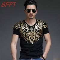 New Fashion Men Casual T Shirt Men Printing Black Short Sleeve T Shirt Men S High