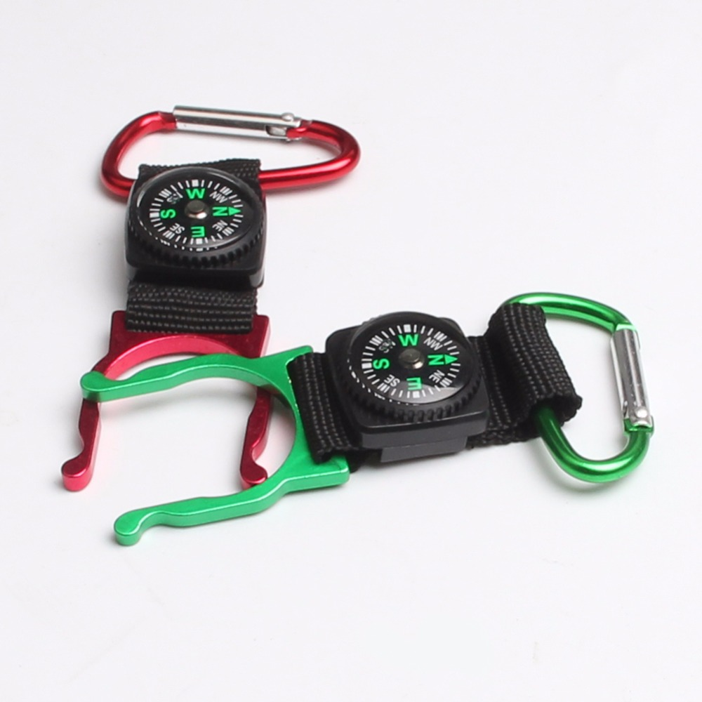 2 pcs/lot Outdoor Climbing Free your Hands Essential Mineral Water Bottles Hanging Buckle With Copass Travel Kit 21-0022