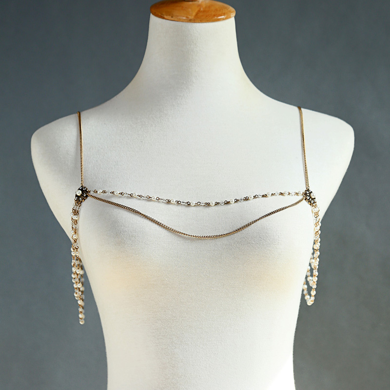 2019 Newest Vintage Gold color Exquisite Shoulder Necklace For Women Brides Sexy Crystal Body Fashion Jewelry Accessories