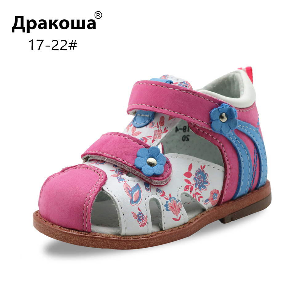 Apakowa Baby Girls Classic Genuine Leather Closed Toe Orthopedic Sandals Toddler Kids Summer Hook And Loop Shoes For Infant Girl