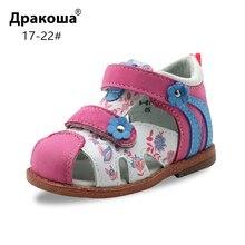 Apakowa, sandalias ortopédicas clásicas de cuero genuino con punta cerrada para niños pequeños, zapatos de verano con gancho y lazo para niñas