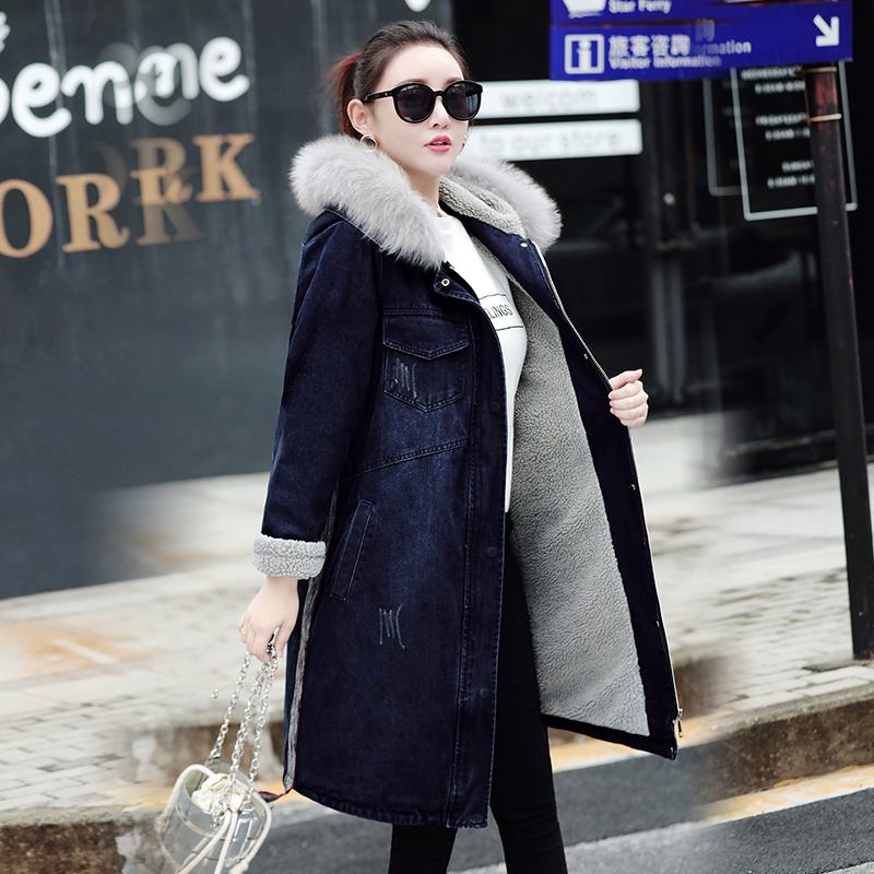 2017 Winter Women Denim Trench Coat Blue Lapel Badges Double Breasted Long Windbreaker High Tops Thicken Dust Coat With Sashes