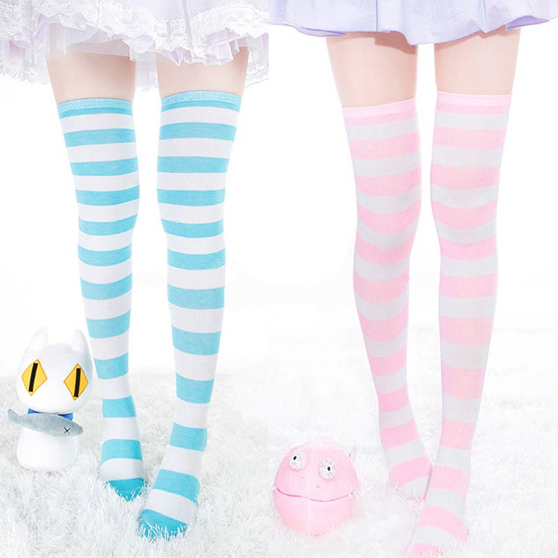 New Women Girls Over Knee Long Stripe Printed Thigh High Striped Patterned Socks 7 Colors Sweet Cute Warm Wholesale Lot 1Pair
