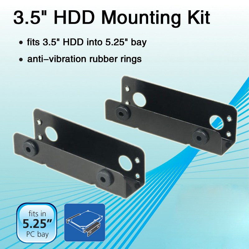 3.5 Inch Hard Drive Bracket HDD Mounting Kit Adapter 3.5inch HDD to 5.25inch Holder Kit PC Internal Bay Converter