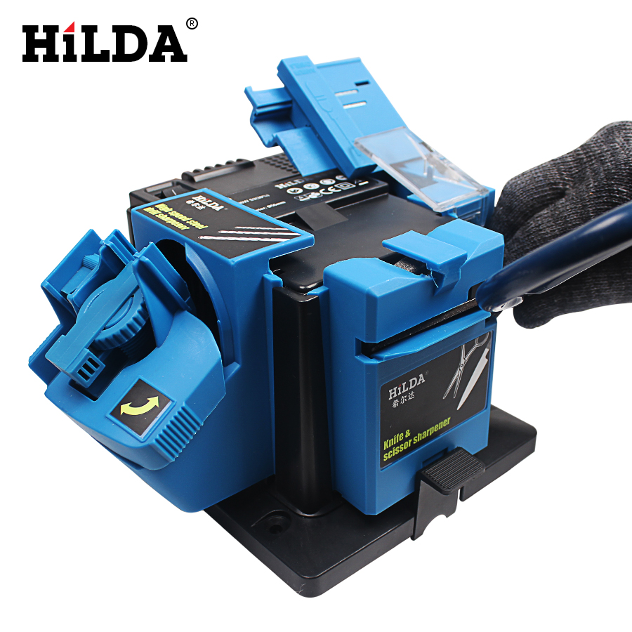 HILDA Multifunction Electric Knife Sharpener Drill Sharpening Machine Knife & Scissor Sharpener Power Household Grinding Tools electric multifunction knife sharpening sharpener grinding knife drill sharpener electric drill bit sharpener