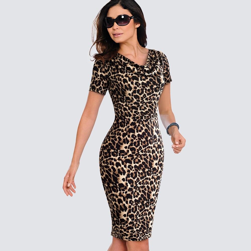 Women Casual Leopard Print Office Business Sheath Slim Summer Pencil Dress HB452
