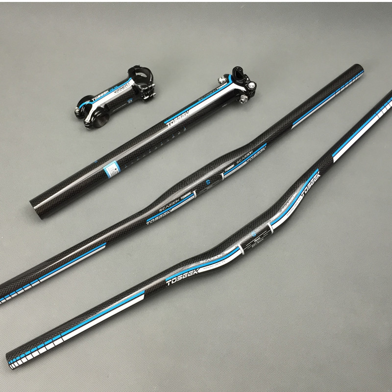 Bicycle Handlebar Set 3k Flat Riser Handlebar stem seatpost Road Mountain Bike Bicicleta Bicycle Parts Carbon