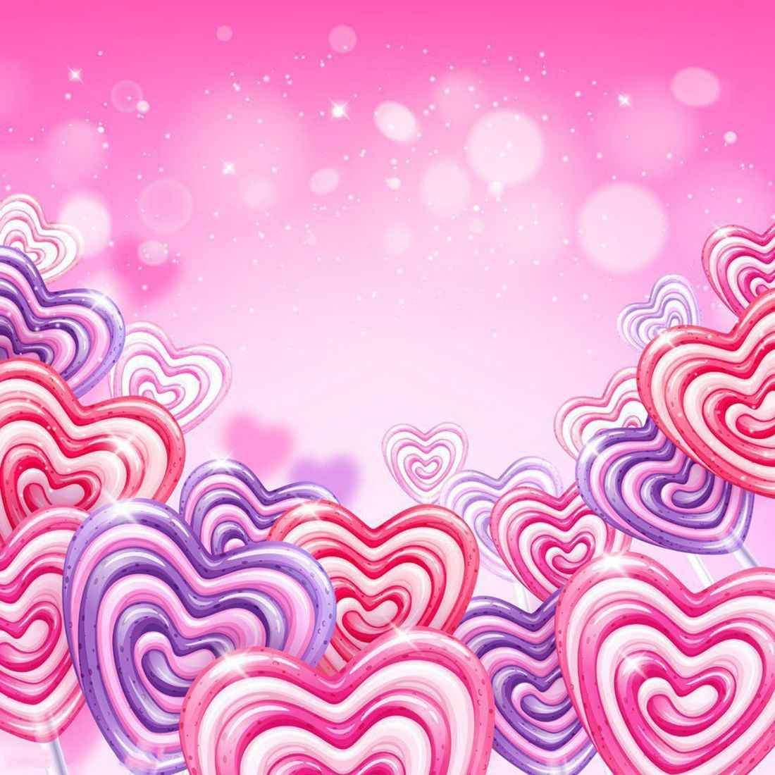 5x7ft Valentines Day Backdrop Sweet Hearts Lollipops Background Bokeh Halos Glitter Sequins Romantic Wedding Vinyl Photograph