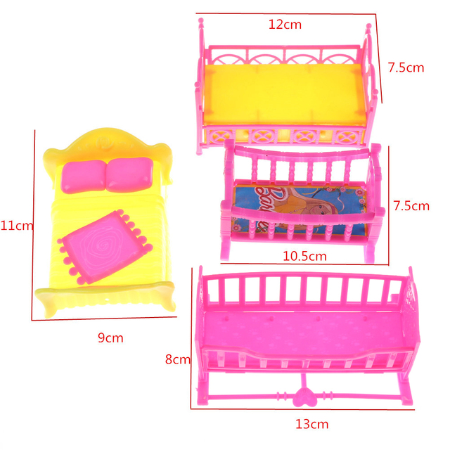 Cute Colorful Plastic Bed For Doll House