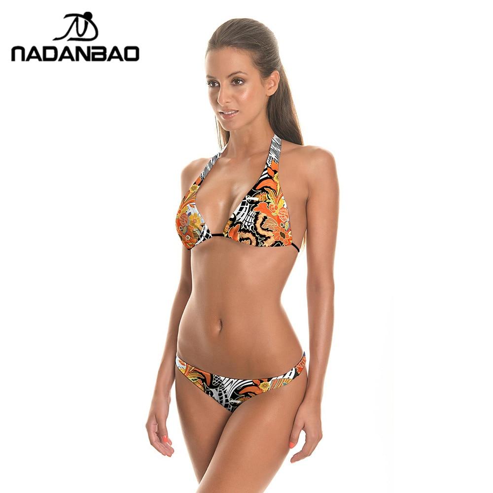two pieces swimsuit bikini 2018 flower print women swimsuit maillot de bain femme low waist
