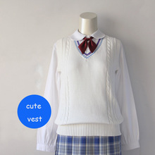 JK uniforms pullover sweater vest girls cute pure white water blue purple collor
