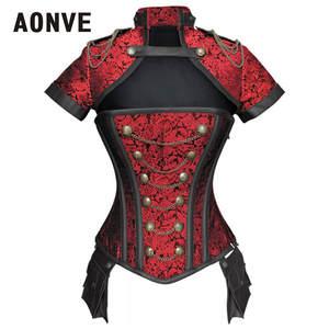 AONVE Gothic Bustiers-Set Steampunk Sexy Corset Burlesque Steel-Bone Black Women Red