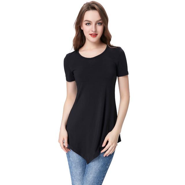 Mulheres da moda Tops Tee Manga Curta Sofe Elástico Verão Camisetas Para As Mulheres T Camisa Irregular Hem Harajuku Feminino T-shirt Preto