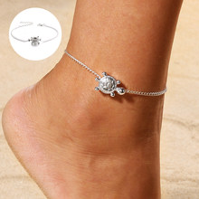 Bohimia żółwie morskie Anklet Vintage dla kobiet lato plaża bransoletka boho noga łańcuch stóp obrączki biżuteria