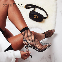 SOPHITINA New Fashion Pointed Toe Ladies Pumps Concise Slip-On Riband Shoes Summer Super High Thin Heels Party Women PO141