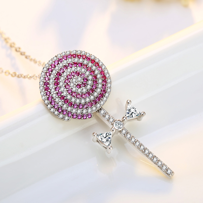 2017 New High Quality Wave Board Sugar Necklace Luxury Full Zircon Pink Color Lollipop Sucker Pendant Necklaces Women Jewelry