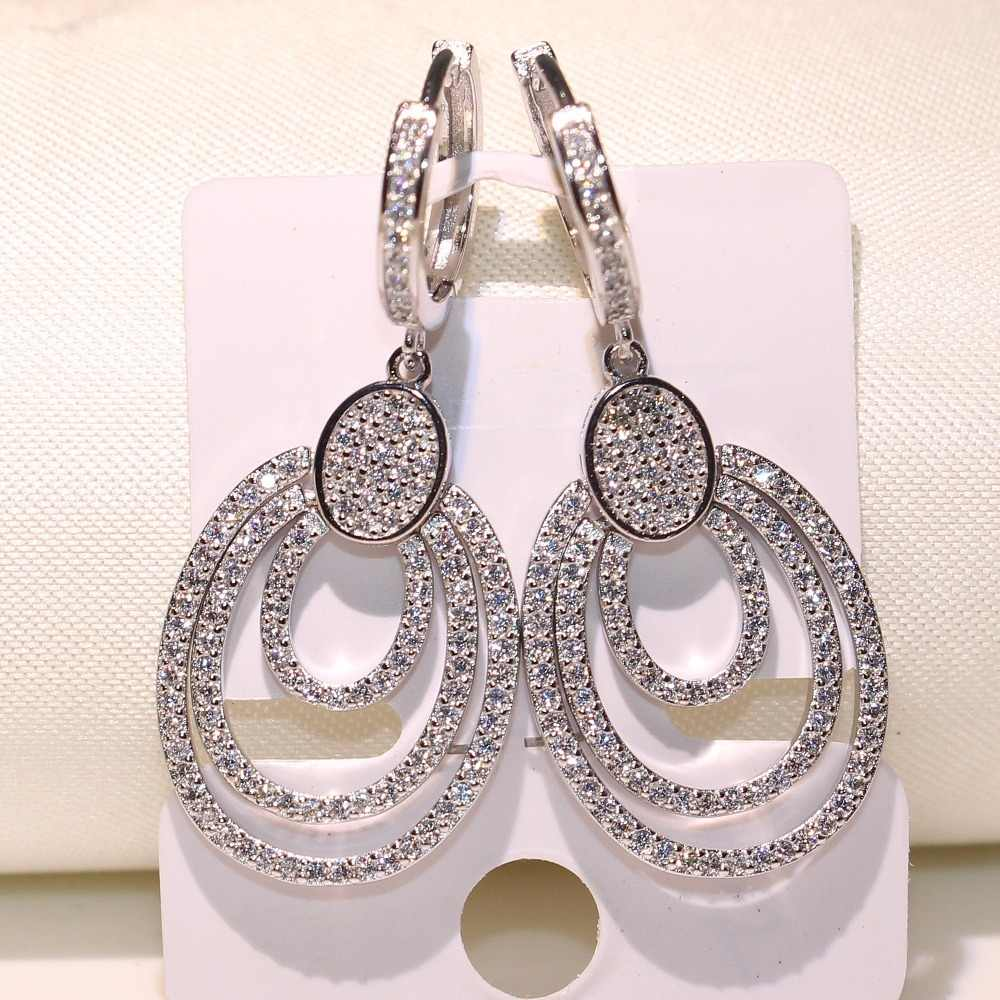 New Arrival Exaggeration Luxury Jewelry 925 Sterling Silver noble Pave White Clear AAA CZ Drop Dangle Earrings For Women GiFT