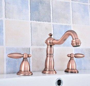 "Antique Copper 8"" Widespread Bathroom Basin Faucet 3 Hole Tub Sink Mixer Tap Deck Mounted Dual Handles Vanity Sink Faucet"