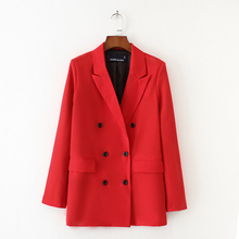 Women's Blazer 2019 New Double-breasted Temperament Red Suit