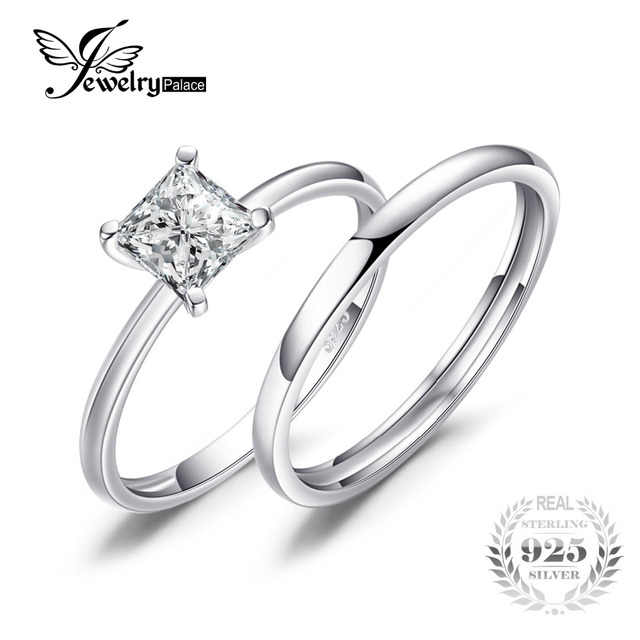 Jewelrypalace Princess Cut 0 6ct Wedding Band Solitaire Engagement Ring Bridal Sets 925 Sterling Silver For