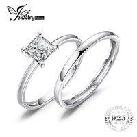 Princess 0 6ct Simulated Diamond Anniversary Engagement Ring Bridal Sets Wedding Band 925 Sterling Silver For