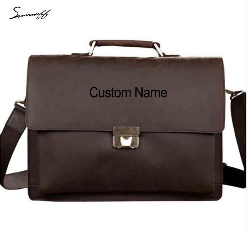 Smirnoff Custom Name Vintage Men Briefcase Bags Lock Design Genuine Leather Laptop  Bag Business Tote Messenger Bags Men Handbags 0914c862aa44e
