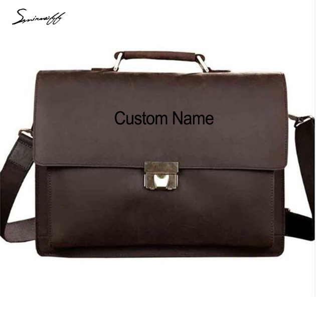 Smirnoff Custom Name Vintage Men Briefcase Bags Lock Design Genuine Leather Laptop Bag Business Tote Messenger Bags Men Handbags