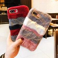 Aoweziic Koreanischen winter temperament bannfarbe plüsch fall für iphone X 8 6 plus telefon shell 6 s Seto kaninchen haarigen weibliche 7 plus