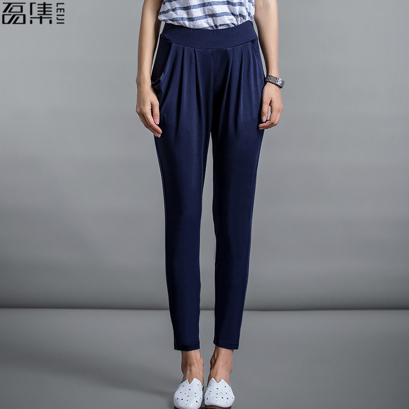 2019 summer Harem   Pants   woman ankle Length Elastic Waist Milk Silk Women Casual Trousers plus size   Capris   5Xl 6XL 7XL 8XL