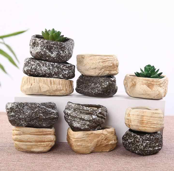 TECHOME Stone Flower Pot Creative Ceramics Succulent Plants Flower Pot Desktop Garden Home Decoration