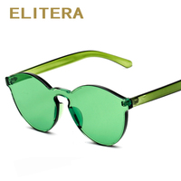 ELITERA Fashion Women Sunglasses Cat Eye Shades Luxury Brand Designer Sun Glasses Integrated Eyewear Candy Color