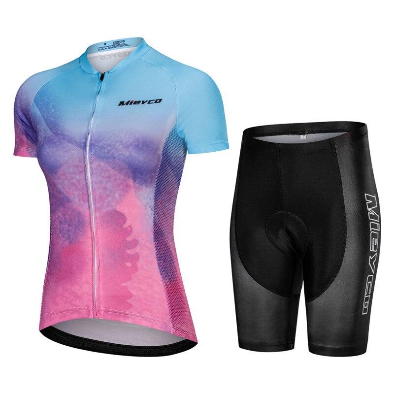 Mulheres verão Conjunto Camisa de Ciclismo Roupas de Bicicleta Mountian Bicicleta de Corrida Conjunto Bib Roupas de Ciclismo Ropa Ciclismo Ciclo Meninas Calças Curtas