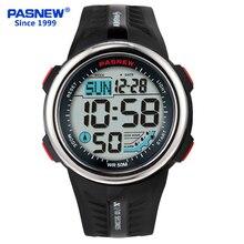 Pasnew New Men and Children Outdoor Sport Digital Display Luminous Waterproof Stopwatch Auto-sleep Dual Time Electronic Watch