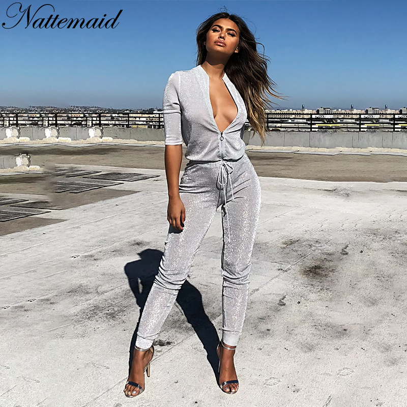 688a97c5300e NATTEMAID Combinaison Femme 2018 Summer Rompers Womens Jumpsuit Sequin  Bodycon Overalls Casual Club Sexy Jumpsuit Bodysuit-in Jumpsuits from  Women s ...