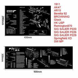 Glock ปืนทำความสะอาดพรมยางแผนภาพชิ้นส่วนและคำแนะนำ Armorers Bench Mat Mouse Pad สำหรับ SIG P226 P229 Colt 1911