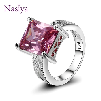 925 Silver Jewelry Cubic Zirconia Rectangle Pink Cushion Stone Rings