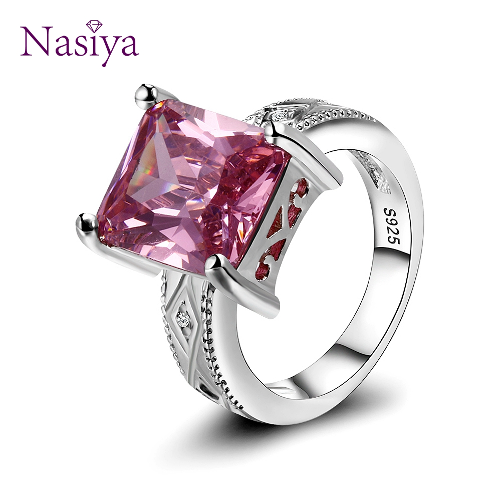 925 Silver Jewelry Cubic Zirconia Rectangle Pink Cushion Stone Rings Geometric Ring For Women Bridesmaid Wedding Party Gift