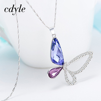 Cdyle Crystals From Swarovski Necklace Women Pendants S925 Sterling Silver Jewelry Blue Purple Butterfly Austrian Rhinestone