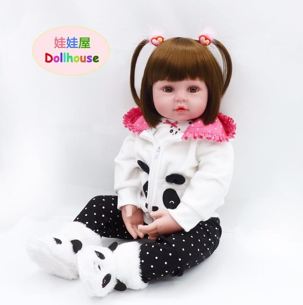 22 мягкая кукла для Девочки Малыш панда одежда для детей на день рождения подарки на Рождество Lifelike Силиконовые Reborn игр перед сном игрушка