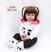 """22 """"Soft Doll för Girl Toddler Panda Kläder för Barn Födelsedag Xmas Presenter Lifelike Silicone Reborn Playtime Bedtime Toy"""