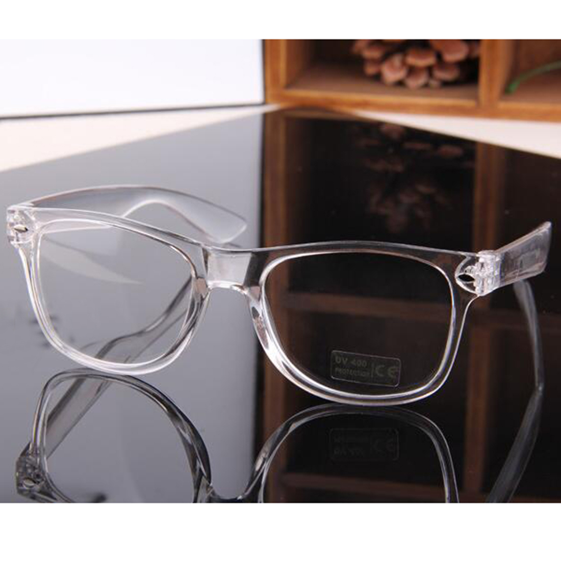 Plain Rivet Glasses Transparent Frame General Fashion ...