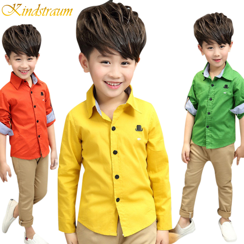 цены Kindstraum 2017 New Arrival Kid Boy Casual Fashion Shirt Long Sleeve Children Clothes Cotton Shirt Spring Autumn Clothing ,NC013