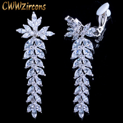 CWWZircons Long Leaf Drop Clip On Ear Non Pierced Earrings Cubic Zirconia Crystal Setting Women Wedding Party Accessories CZ404