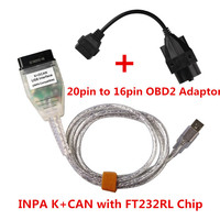 Hot INPA K+CAN OBD & ADS RS232 Interface with OBD1 20pin Connectors INPA K DCAN USB for BMW Car Diagnostic Cable